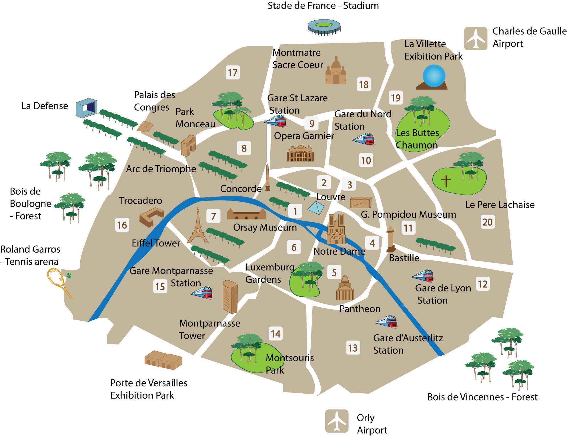 A Map of the Top Tourist Sites in Paris – Map of Tourist Attractions in Paris