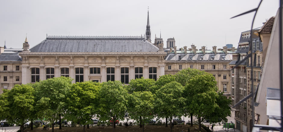 View of Paris from balcony