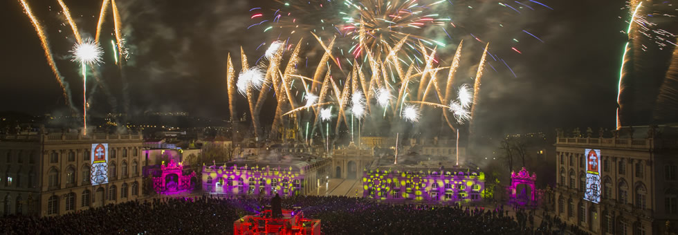 View of Nancy fireworks at night