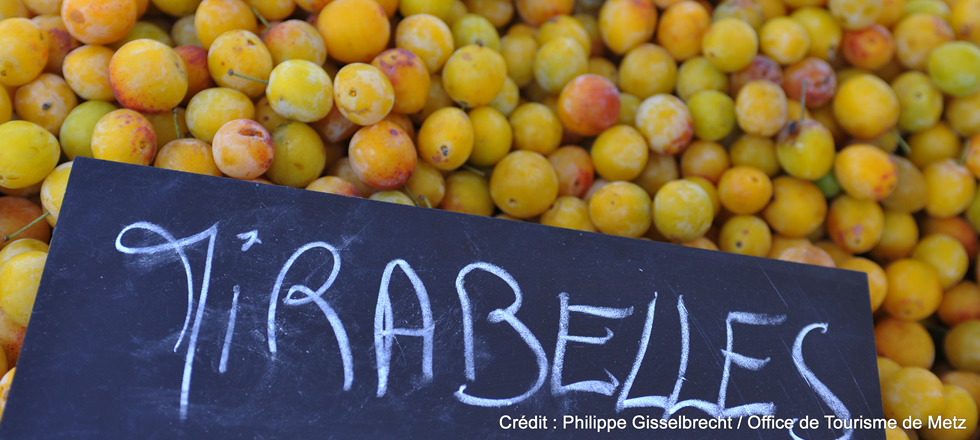 Market in Metz with mirabelle plums